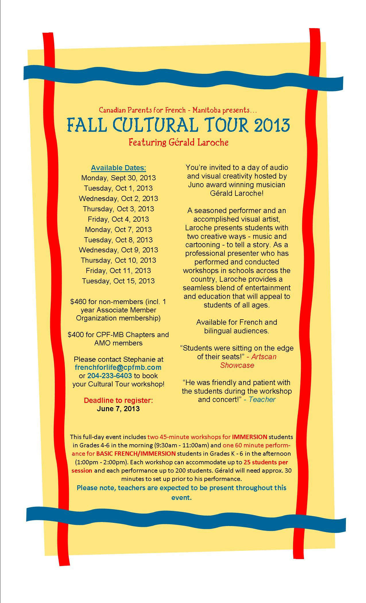 Cultural Tour Poster - Winnipeg and Rural